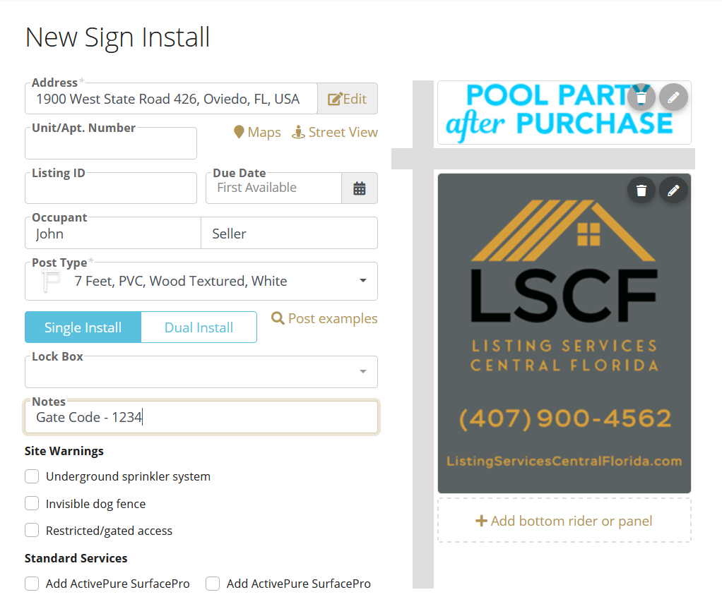 Real Estate Sign Installation
