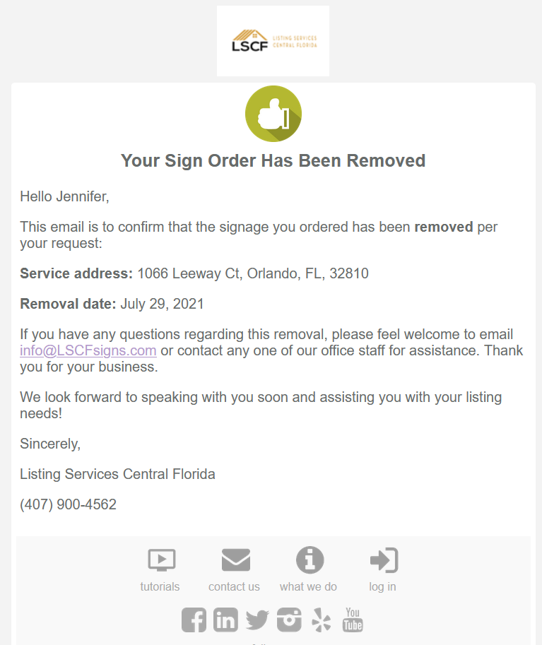 Real Estate Sign Removal Notice